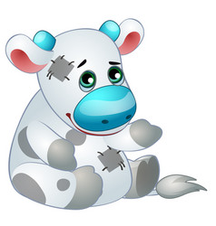 Cute cow - old childrens stuffed toy with patch vector