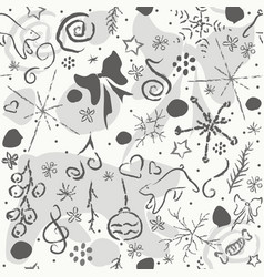 cute hand drawn winter pattern seamless texture vector image vector image