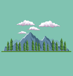 Daytime background landscape of mountain and vector
