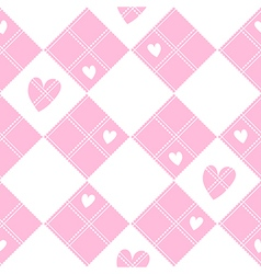 Diamond chessboard pink heart valentine vector