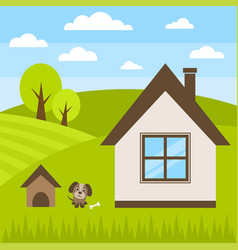Dog and house vector