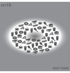 fast food icons like donut symbol eps10 vector image vector image
