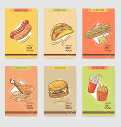 fresh fast food hand drawn cards brochure menu vector image vector image