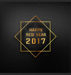 Golden frame with 2017 happy new year text vector