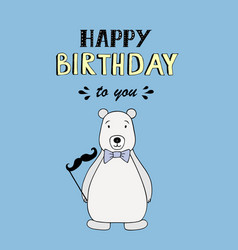 happy birthday lettering party with polar bear vector image