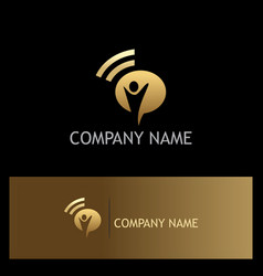 happy man signal gold logo vector image