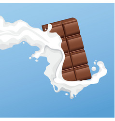 Milky chocolate bar flyer vector