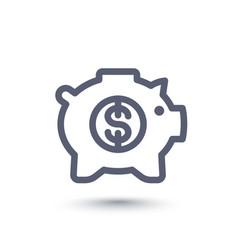 moneybox line icon piggy bank vector image vector image