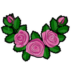 Pink rose corner embroidery patch vector