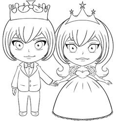 Prince and Princess Coloring Page 2 vector image vector image