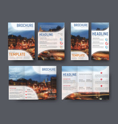 set brochute and flyer with blurred photo for vector image vector image