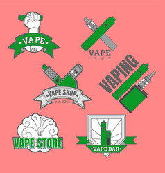 set of different vaping logotypes colored on pink vector image vector image