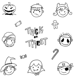 Set of face halloween doodle vector
