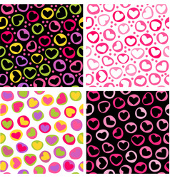 Set of four seamless patterns with doodled hearts vector image vector image