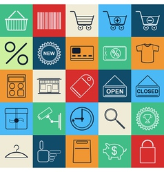 Shopping contour icons vector