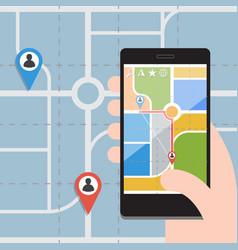 Smart phones with gps navigation vector