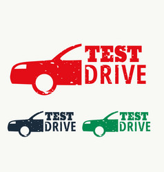 Test drive sign stamp design vector