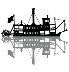 The black silhouette of a vintage steamer vector