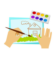 Two hands drawing with paint and brush elementary vector