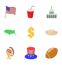 Usa icons set cartoon style vector