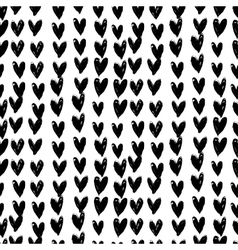 Velentines day pattern with hand painted hearts vector image