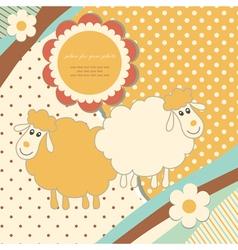 Vintage baby sheep vector