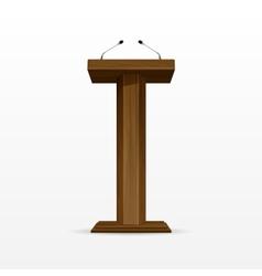 Wood podium tribune rostrum stand with microphones vector