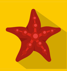 Red starfish icon flat style vector