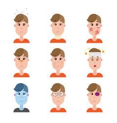 Various disease avatars man face made in flat vector