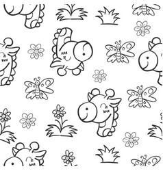 Pattern giraffe and flower hand draw vector