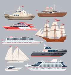Set of different vessels sea boats and other big vector