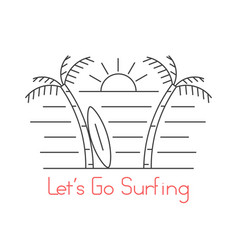 thin line beach with surfboard vector image