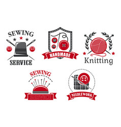 Icons of sewing knitting needlework service vector