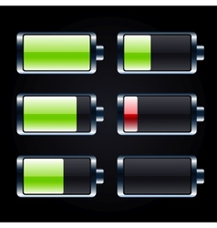 Glossy battery icons set vector image