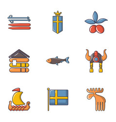 Sweden icons set cartoon style vector