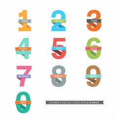 Set of Flat Design Numbers 0-9 with Ribbons vector image