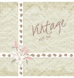 Vintage invitation with ornate detailed flower vector image