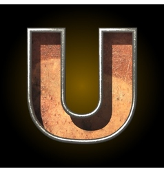 Old metal letter u vector