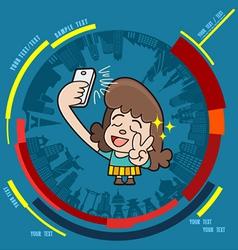 Young girl taking photo on smartphone vector image