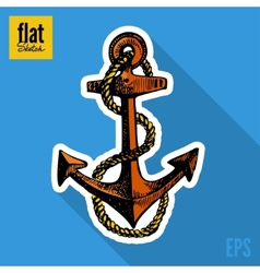 Sketch style hand drawn anchor flat icon vector image