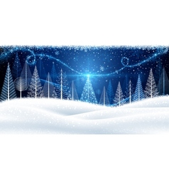 Christmas background with magic tree vector image