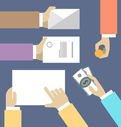 Business workplace with people hands papers and vector