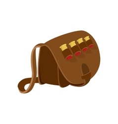 Hunter leather bag cartoon icon vector