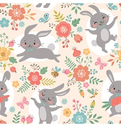 Spring rabbits pattern vector