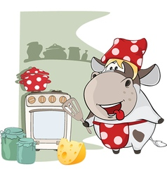 Gourmet chef cow cartoon characte vector