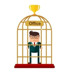 Businessman office work as the birdcase vector