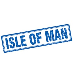 Isle of man blue square grunge stamp on white vector