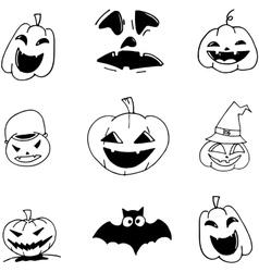 Pumpkins Halloween in doodle vector image