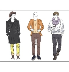 Attractive modern fashionable man set in fashion vector image vector image
