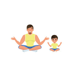 Boy and his dad sitting on floor meditating in vector